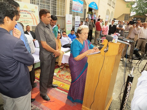 HP minister for Irrigation, Public Health & IT Smt. Vidya Stokes addressing media during the launch of Aadhaar mobile vans in Shimla on September 12, 2014